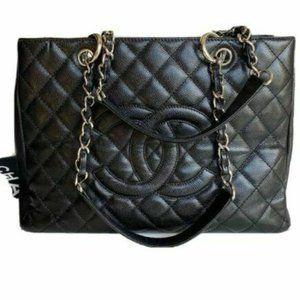 Black CHANEL grand shopping tote caviar bag